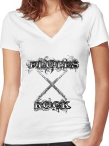 Flutes Rock Women's Fitted V-Neck T-Shirt
