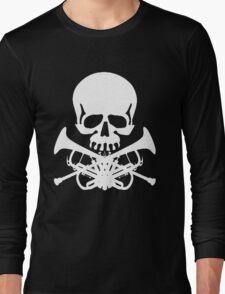 Skull with Trumpet Crossbones Long Sleeve T-Shirt