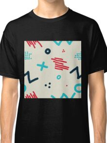 Modern hand draw colorful abstract seamless pattern  Classic T-Shirt