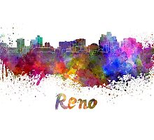Reno skyline in watercolor by paulrommer