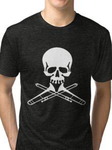Skull with Trombone Crossbones Tri-blend T-Shirt