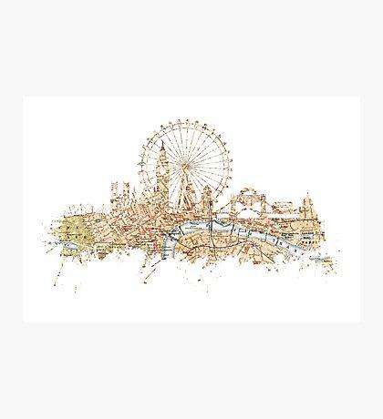 London skyline Maps Big Ben Photographic Print