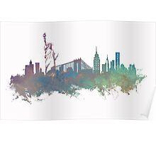 New York City skyline green Poster