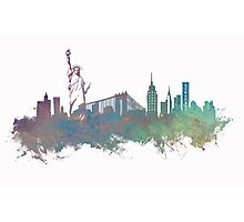 New York City skyline green Photographic Print