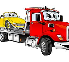 Red Tow Truck Flatbed Cartoon by Graphxpro