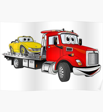 Red Tow Truck Flatbed Cartoon Poster