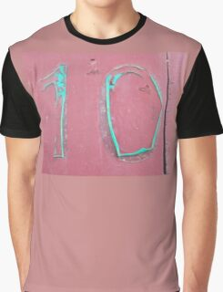 10, NUMBER 10, Ten, Tenth, turquoise, pink, Graphic T-Shirt