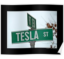 Nikola Tesla Street Sign - Shoreham, New York Poster