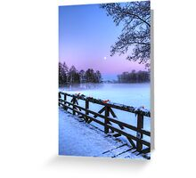 Moon Over Misty Frozen Lake Greeting Card