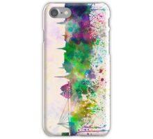 Riga skyline in watercolor background iPhone Case/Skin