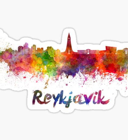 Reykjavik skyline in watercolor Sticker