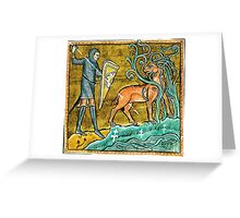 Medieval Knight slaying a Stag Greeting Card