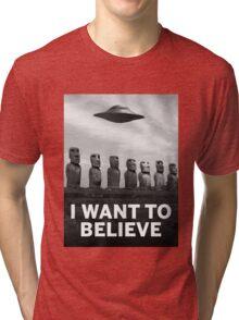 Want2Believe (Moai) Tri-blend T-Shirt