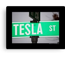 Nikola Tesla Street Sign - Shoreham, New York Canvas Print