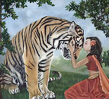 """Reverence"" Fantasy Tiger Art by Susan Van Sant"