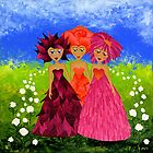 Flower Sisters by Lisa Frances Judd ~ QuirkyHappyArt