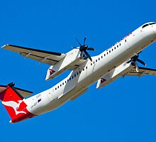 A QANTAS De Havilland Dash 8 Departs Adelaide. by Nick Egglington
