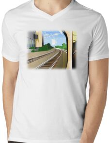 Rails to the Unknown  Mens V-Neck T-Shirt