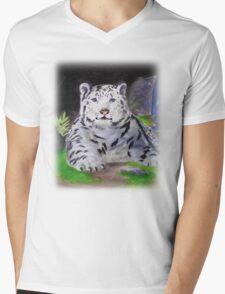 Snow Leopard Mens V-Neck T-Shirt