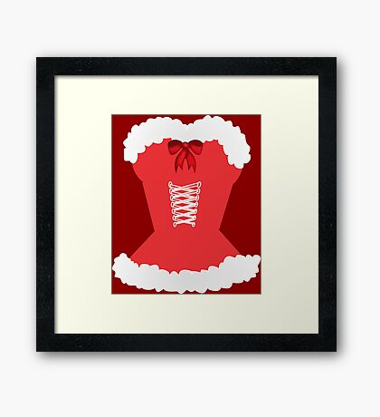 red santa corset christmas corset Mrs Claus Framed Print