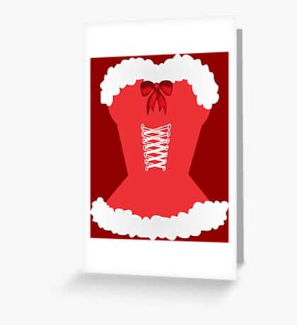 red santa corset christmas corset Mrs Claus Greeting Card