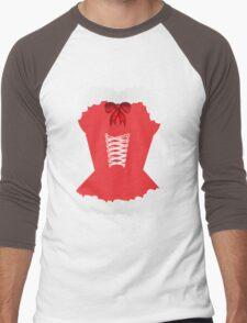 red santa corset christmas corset Mrs Claus Men's Baseball ¾ T-Shirt