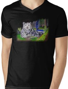 Snow Leopard Mens V-Neck T-Shirt
