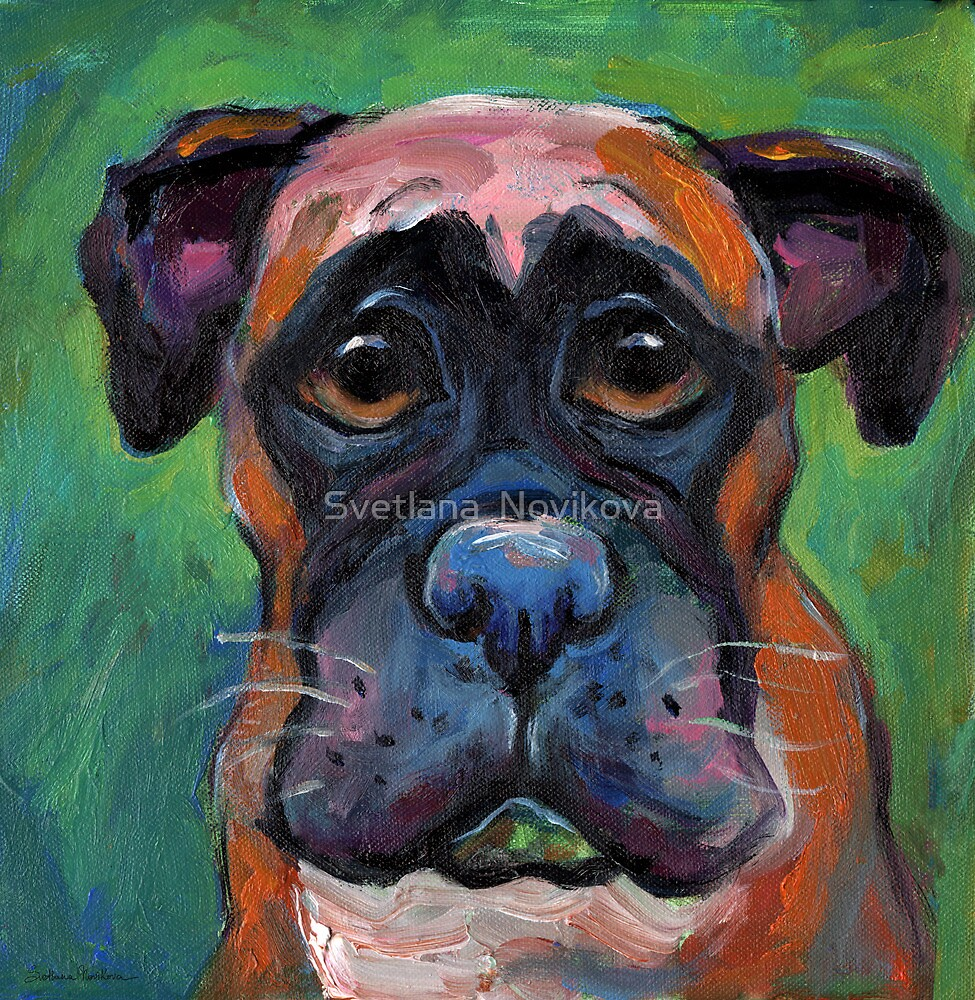 Cute Boxer dog puppy portrait painting by Svetlana Novikova by Svetlana  Novikova
