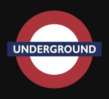 UNDERGROUND, TUBE, LONDON, GB, ENGLAND, BRITISH, on BLACK Baby Tee