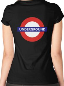 UNDERGROUND, TUBE, LONDON, GB, ENGLAND, BRITISH, BRITAIN, UK on BLACK Women's Fitted Scoop T-Shirt
