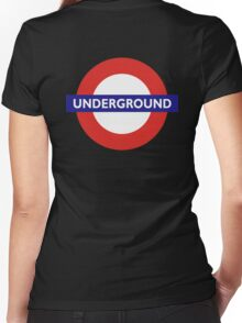 UNDERGROUND, TUBE, LONDON, GB, ENGLAND, BRITISH, BRITAIN, UK on BLACK Women's Fitted V-Neck T-Shirt