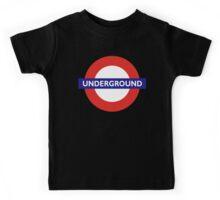 UNDERGROUND, TUBE, LONDON, GB, ENGLAND, BRITISH, BRITAIN, UK on BLACK Kids Tee