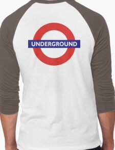 UNDERGROUND, TUBE, LONDON, GB, ENGLAND, BRITISH, BRITAIN, UK on BLACK Men's Baseball ¾ T-Shirt