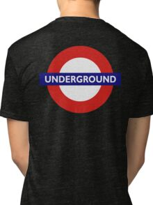 UNDERGROUND, TUBE, LONDON, GB, ENGLAND, BRITISH, BRITAIN, UK on BLACK Tri-blend T-Shirt