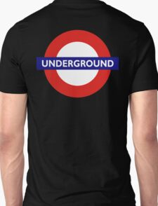 UNDERGROUND, TUBE, LONDON, ENGLAND, BRITISH, on BLACK T-Shirt