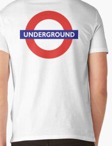 UNDERGROUND, TUBE, LONDON, GB, ENGLAND, BRITISH, on BLACK Mens V-Neck T-Shirt