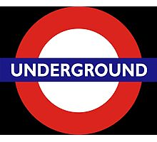 UNDERGROUND, TUBE, LONDON, GB, ENGLAND, BRITISH, BRITAIN, UK on BLACK Photographic Print