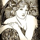 "Appropriation of Alphonse Mucha's ""Woman with Poppies"" 1898 B&W sepia by Ashleia Hoskin"