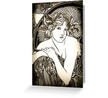 "Appropriation of Alphonse Mucha's ""Woman with Poppies"" 1898 B&W sepia Greeting Card"