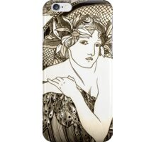 "Appropriation of Alphonse Mucha's ""Woman with Poppies"" 1898 B&W sepia iPhone Case/Skin"