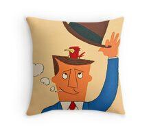 Ode the Mad Men. Bird under the Hat. Throw Pillow