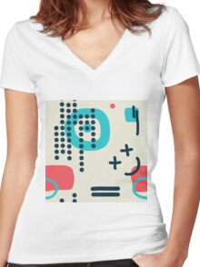 Modern hand draw colorful abstract seamless pattern Women's Fitted V-Neck T-Shirt