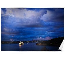Cruising into Sydney Harbour before dawn Poster