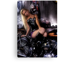 Petra Guess in old harley davidson bike Canvas Print