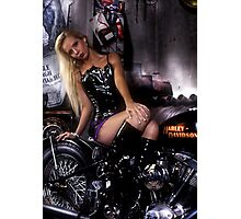Petra Guess in old harley davidson bike Photographic Print