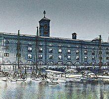 St Katherine's Dock London sketch by DavidHornchurch