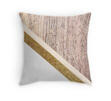 Rustic wood and gold glitter Throw Pillow