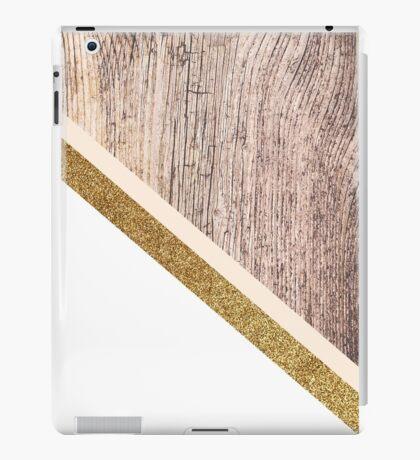 Rustic wood and gold glitter iPad Case/Skin