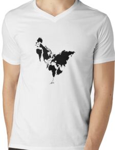 Continent Chicken Mens V-Neck T-Shirt