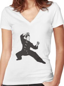 Kung Fu Reagan Women's Fitted V-Neck T-Shirt